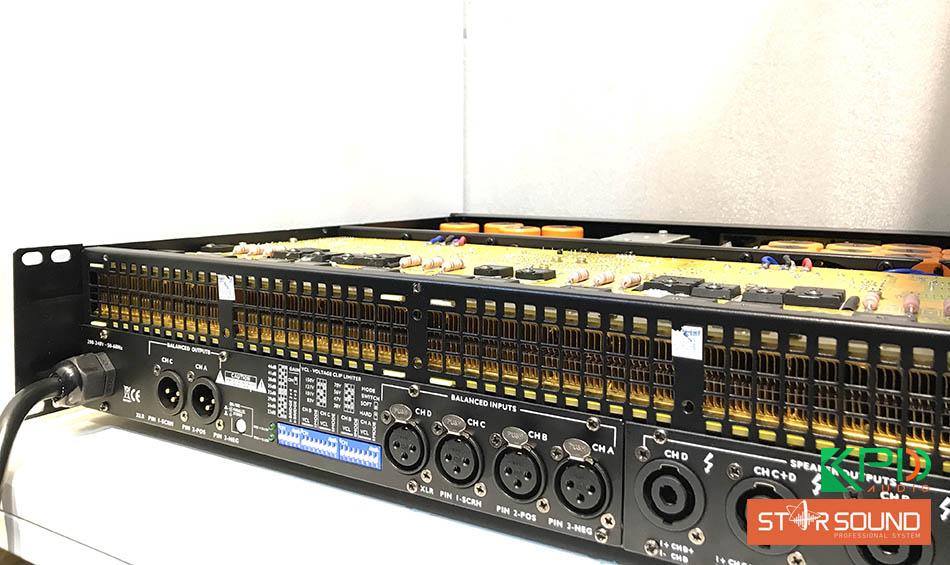 Mặt sau của cục đẩy Star Sound K-4100P là nơi để nhưng cổng kết nối ra ngoài và dây nguồn